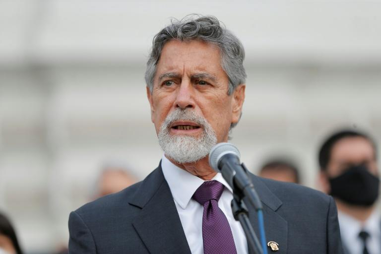 Peru's new president Francisco Sagasti, speaking after his election by Congress in November 2020