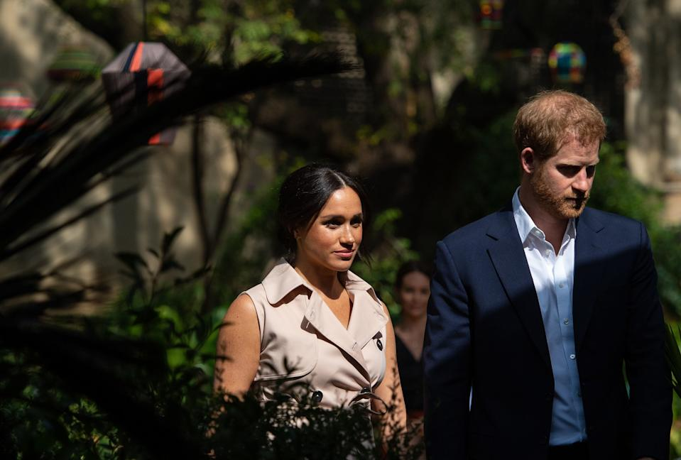 The Duke and Duchess of Sussex attend a creative industries and business reception, at the British High Commissioner's residence, in Johannesburg, South Africa, on day 10 of their tour of Africa. PA Photo. Picture date: Monday September 23, 2019. See PA story ROYAL Tour. Photo credit should read: Dominic Lipinski/PA Wire (Photo by Dominic Lipinski/PA Images via Getty Images)