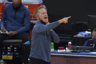 Golden State Warriors coach Steve Kerr reacts during the first half of the team's NBA basketball game against the New York Knicks in San Francisco, Thursday, Jan. 21, 2021. (AP Photo/Jeff Chiu)