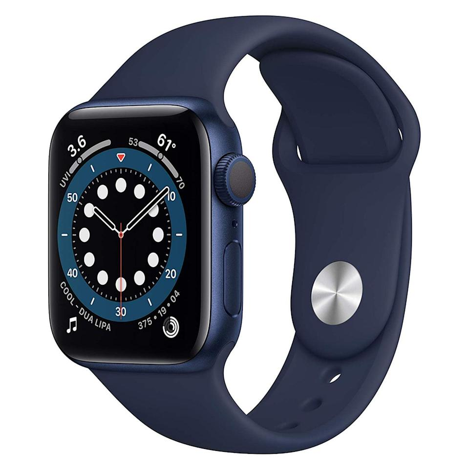 "<p><strong>Apple</strong></p><p>amazon.com</p><p><strong>$349.00</strong></p><p><a href=""https://www.amazon.com/dp/B08J5XF5SR?tag=syn-yahoo-20&ascsubtag=%5Bartid%7C2089.g.293%5Bsrc%7Cyahoo-us"" rel=""nofollow noopener"" target=""_blank"" data-ylk=""slk:Shop Now"" class=""link rapid-noclick-resp"">Shop Now</a></p><p>Your iPhone-toting recipient will love <a href=""https://www.bestproducts.com/tech/a34026754/apple-event-annoucements-september-2020/"" rel=""nofollow noopener"" target=""_blank"" data-ylk=""slk:the latest Apple Watch Series 6"" class=""link rapid-noclick-resp"">the latest Apple Watch Series 6</a>. The fully waterproof device has a timelessly cool design with new case finishes, an improved always-on Retina display, and an all-new blood oxygen sensor for next-level wellness tracking. </p><p>Other highlights of the device include a highly accurate, ECG-capable heart rate sensor and GPS, and an impressive selection of <a href=""https://www.bestproducts.com/tech/g1143/best-apple-watch-bands/"" rel=""nofollow noopener"" target=""_blank"" data-ylk=""slk:bands"" class=""link rapid-noclick-resp"">bands</a> and <a href=""https://www.bestproducts.com/tech/gadgets/g26607537/must-have-apple-watch-accessories/"" rel=""nofollow noopener"" target=""_blank"" data-ylk=""slk:accessories"" class=""link rapid-noclick-resp"">accessories</a>.</p><p><strong>More: </strong><a href=""https://www.bestproducts.com/tech/a34149601/apple-watch-series-6-review/"" rel=""nofollow noopener"" target=""_blank"" data-ylk=""slk:Our Review of the Apple Watch Series 6"" class=""link rapid-noclick-resp"">Our Review of the Apple Watch Series 6</a></p>"