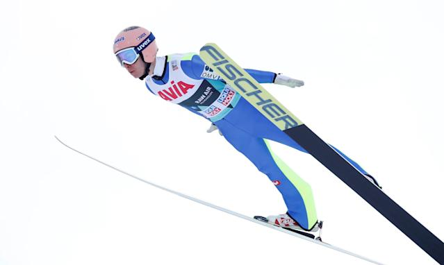 FIS Ski Jumping World Cup - Men's HS134 - Oslo, Norway - March 10, 2018. Stefan Kraft of Austria competes. NTB Scanpix/Terje Bendiksby via REUTERS ATTENTION EDITORS - THIS IMAGE WAS PROVIDED BY A THIRD PARTY. NORWAY OUT. NO COMMERCIAL OR EDITORIAL SALES IN NORWAY.