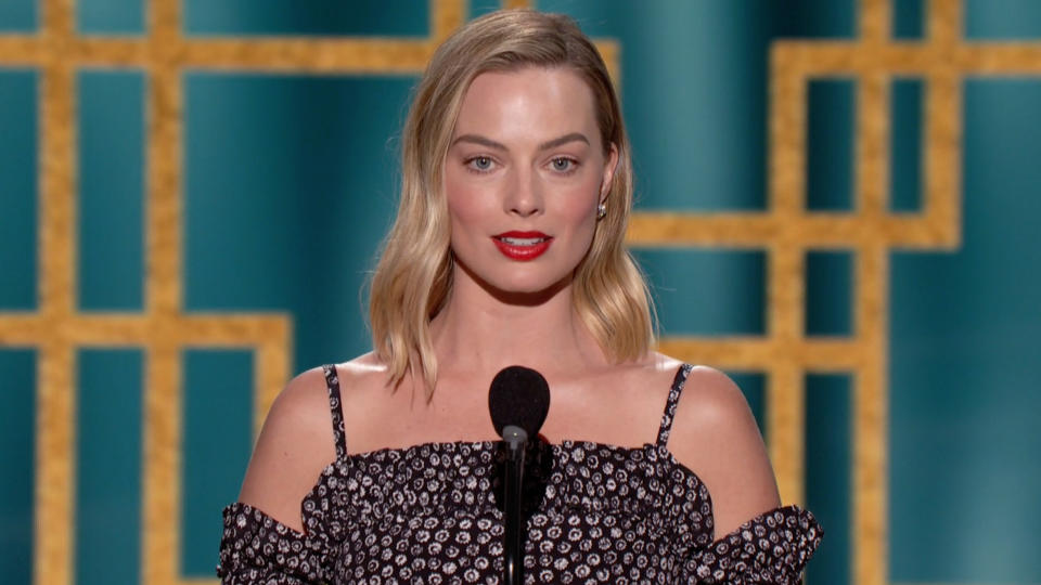 UNSPECIFIED: 78th Annual GOLDEN GLOBE AWARDS -- Pictured in this screengrab released on February 28, (l-r) Margot Robbie speaks onstage at the 78th Annual Golden Globe Awards broadcast on February 28, 2021. --  (Photo by NBC/NBCU Photo Bank via Getty Images)