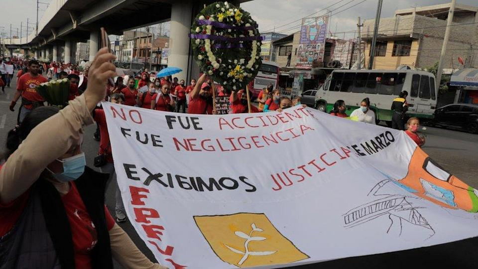 Members of the Francisco Villa Independent Popular Front march on Avenida Tláhuac to demand justice for the 26 people who died after a column collapsed on the night of May 3 between the Tezonco and Olivos subway stations of Line 12 of the Metro Collective Transport System in Mexico City.