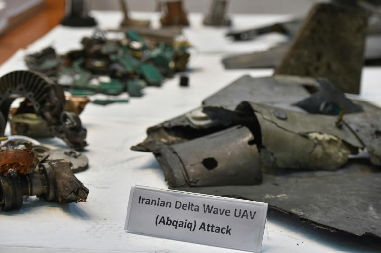 This photograph shows fragments of what the Saudi defense ministry said were Iranian cruise missiles and drones recovered from the attack on Saudi Aramco's facilities