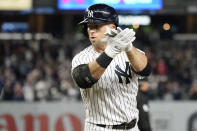 New York Yankees' Brett Gardner reacts after hitting an an RBI-single in the ninth inning of a baseball game against the Tampa Bay Rays, Friday, Oct. 1, 2021, in New York. (AP Photo/Mary Altaffer)