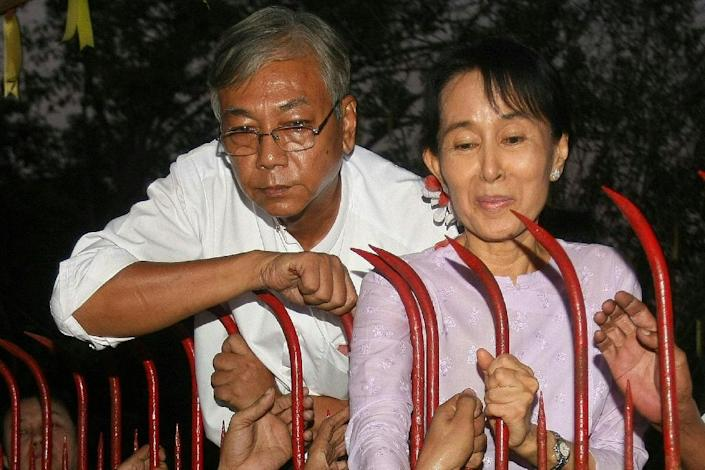 Htin Kyaw (left) was with Aung San Suu Kyi when Myanmar's pro-democracy leader was released from house arrest in Yangon in 2010 (AFP Photo/Soe Than Win)