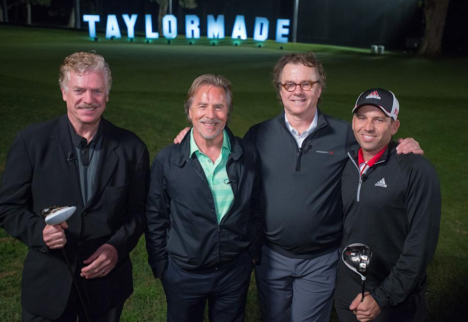 """Actors Christopher McDonald, left, Don Johnson, Michael O'Keefe and PGA Tour's Sergio Garcia pose for a photo during TaylorMade's R15 Northern Trust Open """"Made of Greatness"""" event, in Pacific Palisades, Wednesday, Feb., 18, 2015.  (Eric Reed/AP Images for TaylorMade)"""