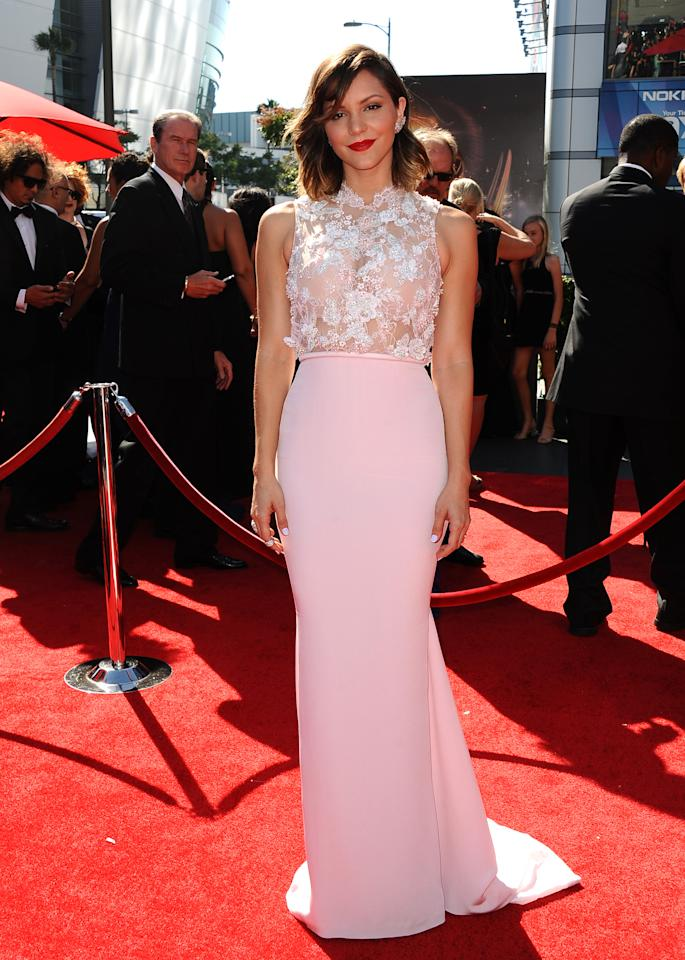 Katharine McPhee arrives at the 2013 Primetime Creative Arts Emmy Awards, on Sunday, September 15, 2013 at Nokia Theatre L.A. Live, in Los Angeles, Calif. (Photo by Scott Kirkland/Invision for Academy of Television Arts & Sciences/AP Images)
