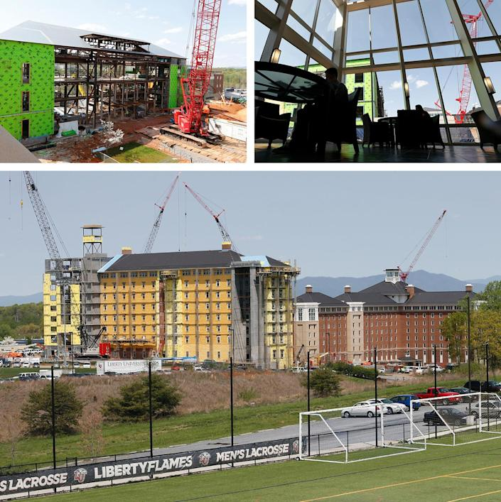 Scenes of construction on Liberty University's campus in April 2015, including a new music building (top left) near the atrium of the Jerry Falwell Library (top right), and a new dorm (bottom).