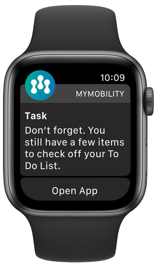 Patients receive notifications on the Apple Watch or iPhone reminding them to complete any education, questionnaires, and exercises for the day.