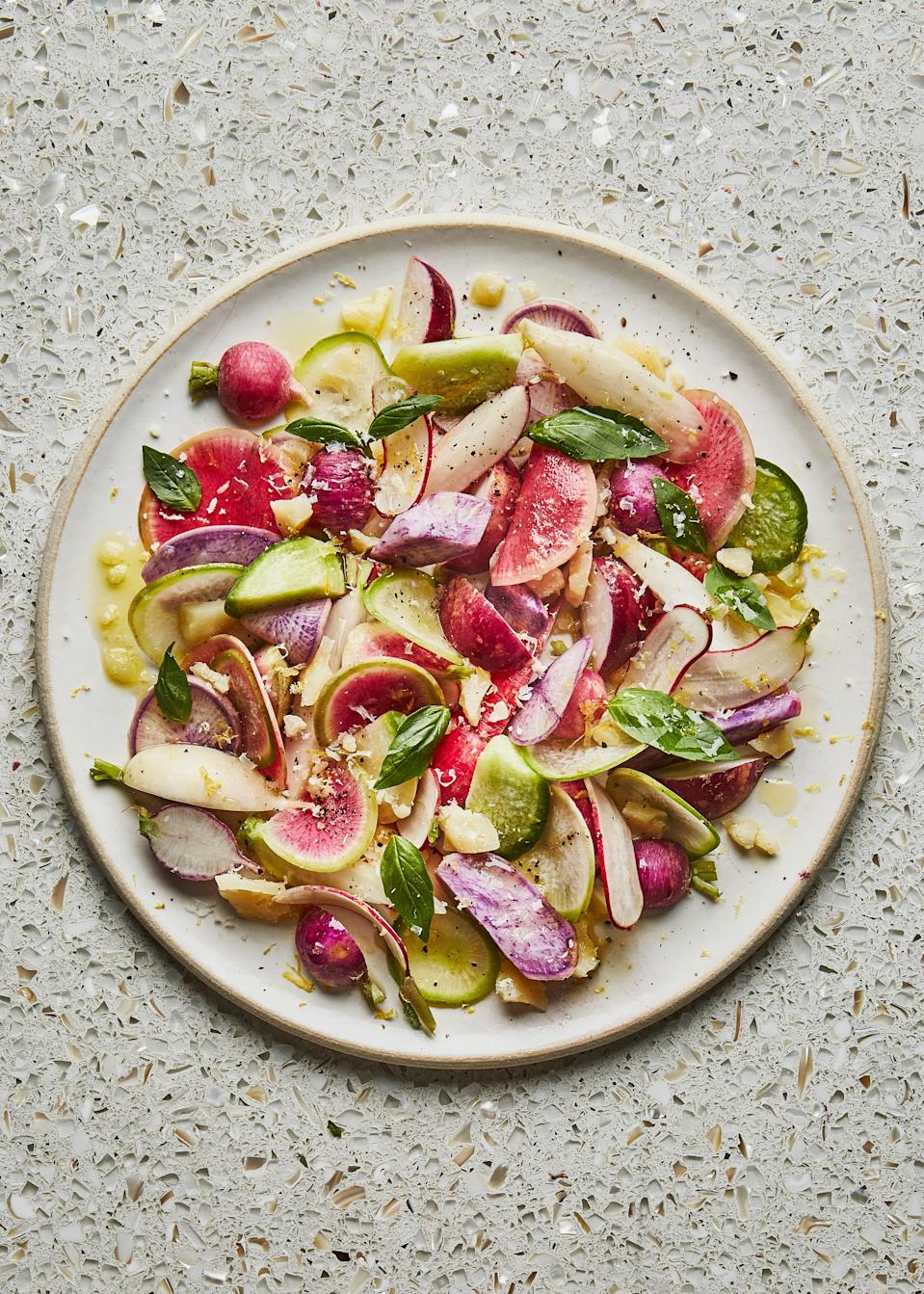 "Why make a salad of only red radishes when you can use a mix of Easter Egg and Watermelon radishes too? Going to the farmers' market is the time to be shamelessly superficial, picking these up in place of the more commonplace varieties at the supermarket. They're equally delicious and infinitely more stunning. This recipe is part of the Healthyish Farmers' Market Challenge. Get all 10 recipes <a href=""https://www.bonappetit.com/farmersmarketchallenge?mbid=synd_yahoo_rss"" rel=""nofollow noopener"" target=""_blank"" data-ylk=""slk:here"" class=""link rapid-noclick-resp"">here</a>. <a href=""https://www.bonappetit.com/recipe/radish-rainbow-salad?mbid=synd_yahoo_rss"" rel=""nofollow noopener"" target=""_blank"" data-ylk=""slk:See recipe."" class=""link rapid-noclick-resp"">See recipe.</a>"