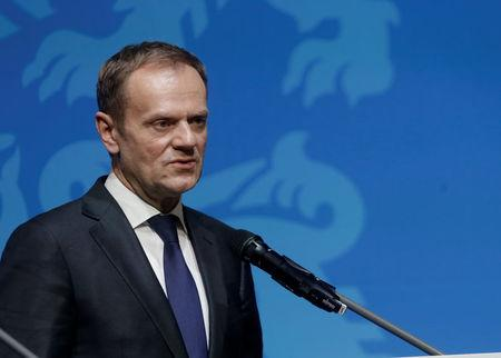President of the European Council Tusk speaks during a news conference in Tallinn