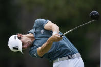 Joaquin Niemann of Chile drives off the fourth tee during the third round of the Rocket Mortgage Classic golf tournament, Saturday, July 3, 2021, at the Detroit Golf Club in Detroit. (AP Photo/Carlos Osorio)