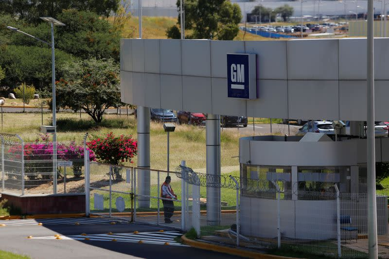 The entrance to GM pickup and transmission plant is pictured in Silao