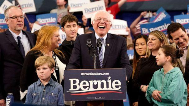 PHOTO: Democratic presidential candidate Sen. Bernie Sanders takes the stage during a primary night event, Feb. 11, 2020, in Manchester, N.H. (Drew Angerer/Getty Images)