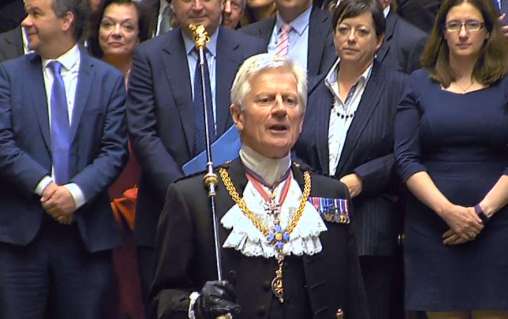 The Gentleman Usher of the Black Rod David Leakey addresses the House of Commons, London, during its first sitting since the election.