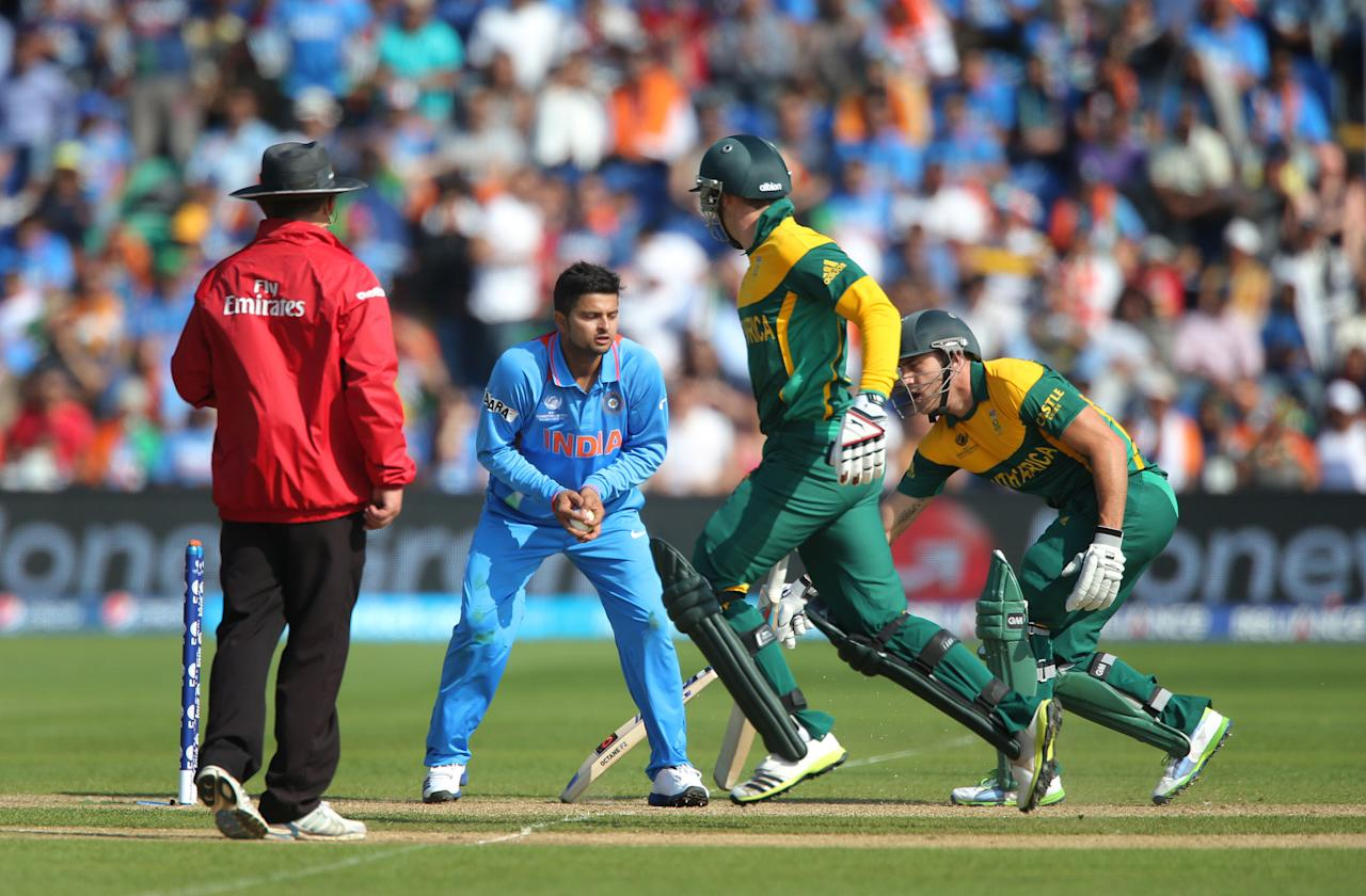 South Africa batsman David Miller and Faf Du Plessis and same end and Miller is run out on opening day of the ICC Champions Trophy. The SWALEC Stadium, Cardiff.