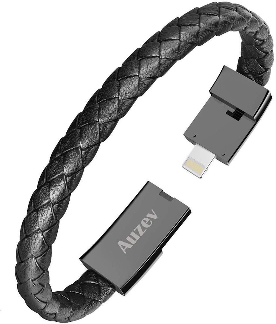 <p>This <span>Bracelet Lightning Cable</span> ($15) may look like a normal bracelet, but they can use it to charge their phone.</p>