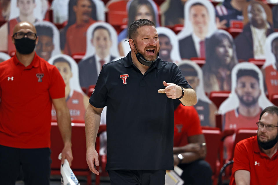 Texas Tech coach Chris Beard shouts to players during the second half of the team's NCAA college basketball game Tuesday, Dec. 29, 2020, in Lubbock, Texas. (AP Photo/Brad Tollefson)