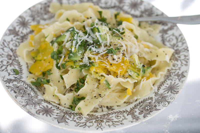 This Sept. 23, 2013 photo shows Ceasar squash pappardelle in Concord, N.H. (AP Photo/Matthew Mead)