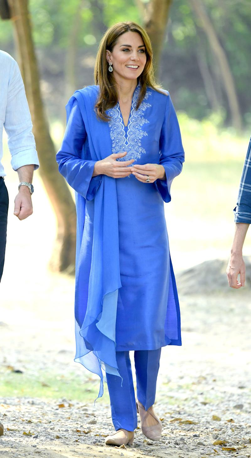 Kate Middleton visits the Margalla Hills National Park with Prince William, Duke of Cambridge in Islamabad, Pakistan. Photo by Karwai Tang/WireImage.