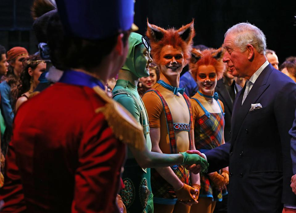 LONDON, ENGLAND - FEBRUARY 12: Prince Charles, Prince of Wales meets cast members as he attends the world premiere of 'The Cunning Little Vixen', in honour of his 70th birthday at the Royal Opera House on February 12, 2019 in London,England. (Photo by Gareth Fuller - WPA Pool/Getty Images)
