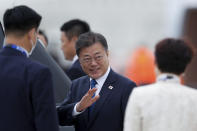 South Korea's President Moon Jae-in arrives at the airport in Newquay, England, for the G7 summit, Friday, June 11, 2021. (Peter Nicholls/Pool Photo via AP)