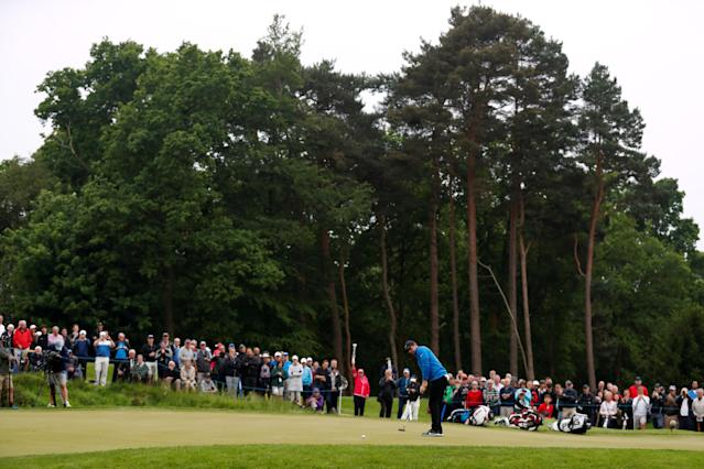 Golf - European Tour - BMW PGA Championship - Wentworth Club, Virginia Water, Britain - May 24, 2018 Northern Ireland's Rory McIlroy putts during the first round Action Images via Reuters/Peter Cziborra
