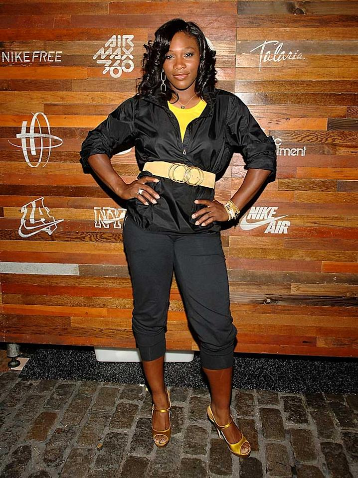"""Serena Williams pops a pose in a super cute ensemble. The tennis ace, who's never looked better, also scores major points with us for the new 'do! Jamie McCarthy/<a href=""""http://www.wireimage.com"""" target=""""new"""">WireImage.com</a> - August 21, 2008"""