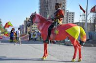 A resident of Mekelle, the capital of Tigray, rides a horse painted in the colours of regional flag at celebrations in February to mark the 45th anniversary of the 'Armed Struggles of the Peoples of Tigray'