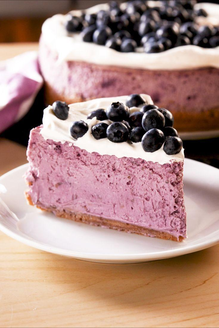 """<p>Swirling blueberry puree into <a href=""""https://www.delish.com/uk/cooking/recipes/g30239150/cheesecake-recipes/"""" rel=""""nofollow noopener"""" target=""""_blank"""" data-ylk=""""slk:cheesecake"""" class=""""link rapid-noclick-resp"""">cheesecake</a> batter isn't only beautiful, it's extremely delicious. The cheesecake stays extra-creamy and has the perfect tartness to it that will have you saying, """"just one more bite,"""" another thousand times. </p><p>Get the <a href=""""https://www.delish.com/uk/cooking/a32955201/blueberry-cheesecake-recipe/"""" rel=""""nofollow noopener"""" target=""""_blank"""" data-ylk=""""slk:Blueberry Cheesecake"""" class=""""link rapid-noclick-resp"""">Blueberry Cheesecake</a> recipe.</p>"""
