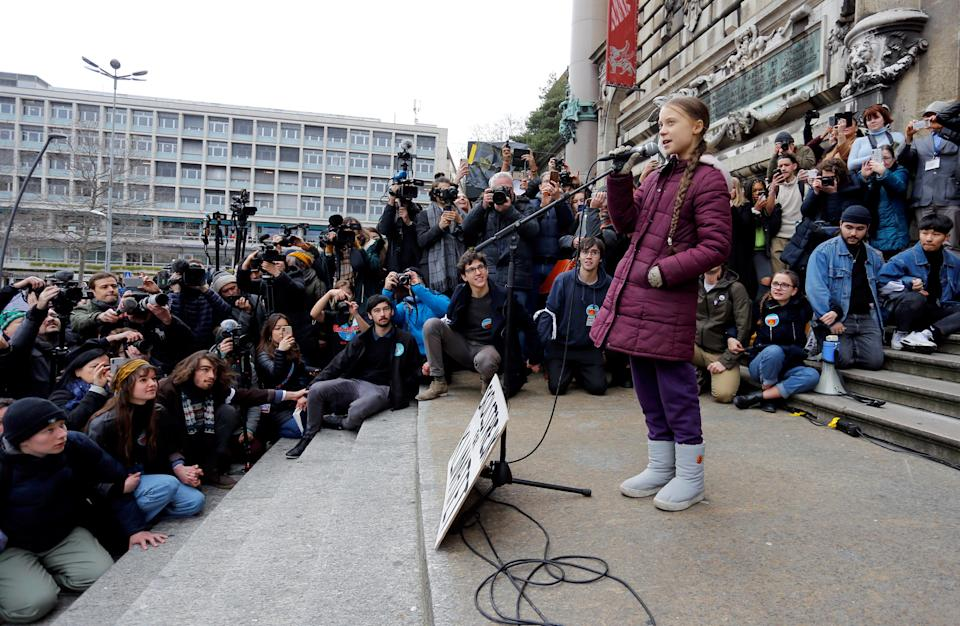 Swedish teenage climate activist Greta Thunberg speaks during a demonstration of the Fridays for Future movement in Lausanne, Switzerland January 17, 2020. REUTERS/Pierre Albouy