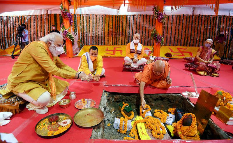 India's PM Modi attends the foundation-laying ceremony of a Hindu temple in Ayodhya