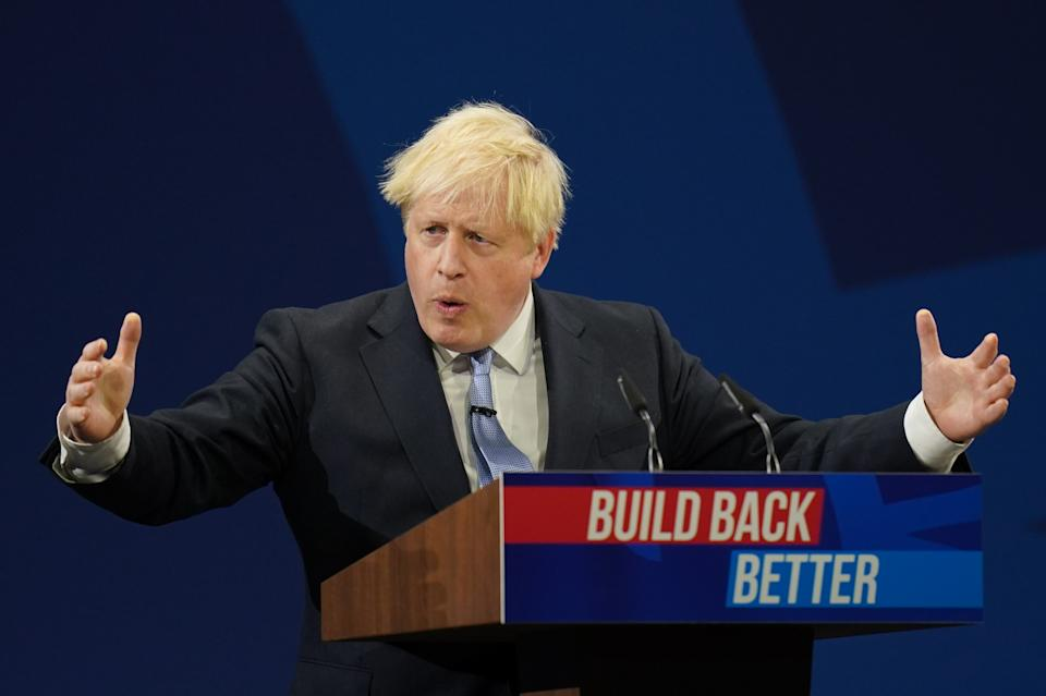Prime Minister Boris Johnson delivers his keynote speech to the Conservative Party Conference in Manchester. Picture date: Wednesday October 6, 2021.