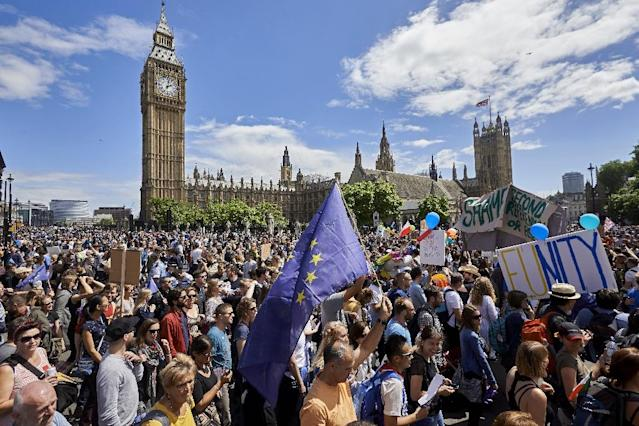 Thousands of protesters gathered in Parliament Square in the wake of Britain's vote to leave the EU, which plunged the government into political turmoil and left the country deeply polarised (AFP Photo/Niklas Halle'n)