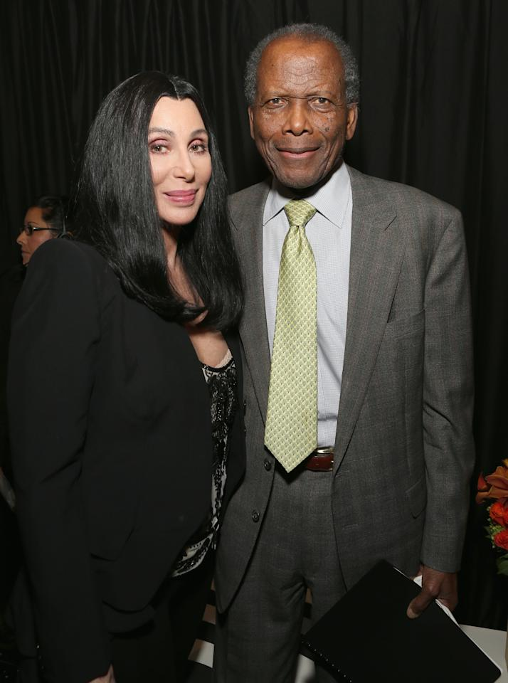 HOLLYWOOD, CA - APRIL 24: (L-R) Actors Cher and Sidney Poitier attend Target Presents AFI's Night at the Movies at ArcLight Cinemas on April 24, 2013 in Hollywood, California.  (Photo by Jesse Grant/Getty Images for AFI)