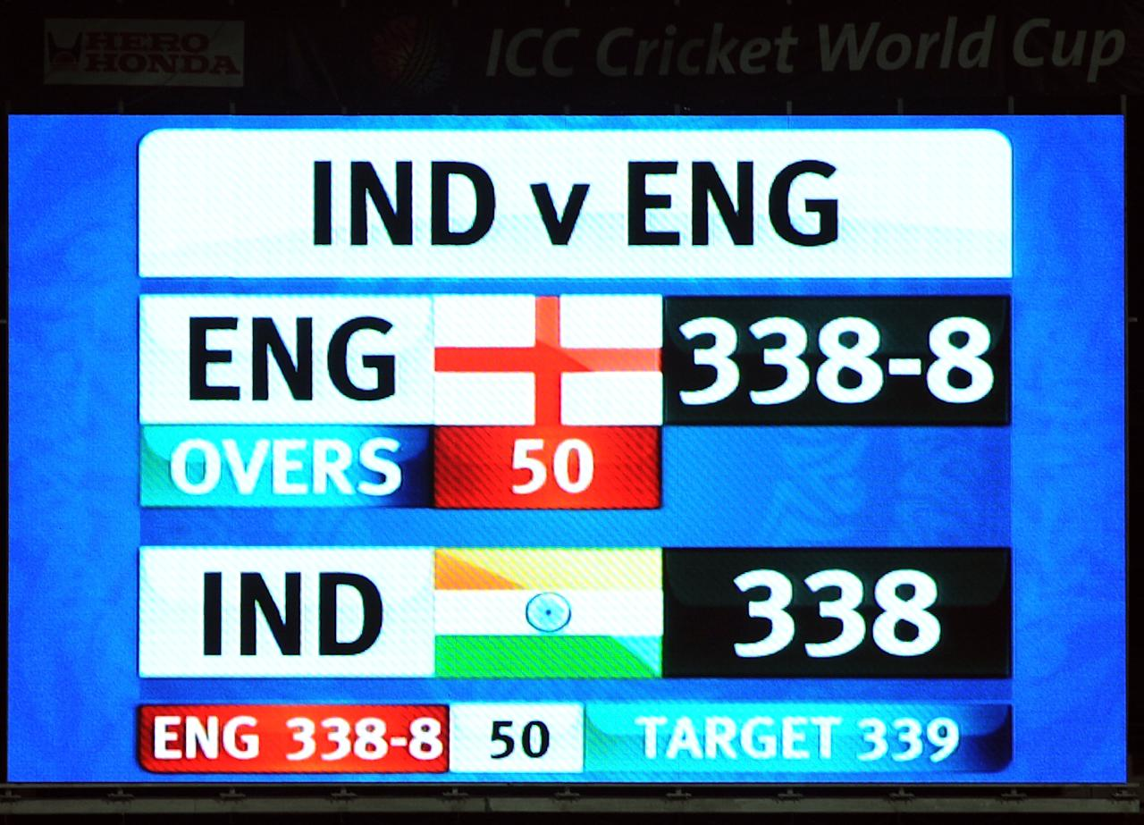 India vs England at Bangalore on 27 February 2011: The 11th match of the ICC World Cup 2011 was a nerve-wracker which was studded with centuries from Sachin Tendulkar and England captain Andrew Strauss. Tendulkar's 115-ball 120 and half-centuries by Gautam Gambhir and Yuvraj Singh saw India set England an imposing target of 339. The run chase was set up by Strauss, who scored 158 off 145 balls and Ian Bell (69) with their 170-run partnership for the third wicket.   But, Zaheer Khan dismissed Bell and Strauss in the 43rd over; and England continued to lose wickets thereafter. England needed 14 runs off the last over of the match bowled by Munaf Patel and when Ahmad Shehzad hit the third ball of the 50th over for a massive six, the equation was down to five runs off three balls. Munaf conceded only four runs in the remainder of his over as India and England played out the fourth tied game in World Cup history.