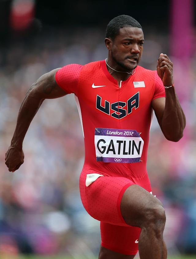 LONDON, ENGLAND - AUGUST 04: Justin Gatlin of the United States competes in the Men's 100m Round 1 Heats on Day 8 of the London 2012 Olympic Games at Olympic Stadium on August 4, 2012 in London, England. (Photo by Streeter Lecka/Getty Images)
