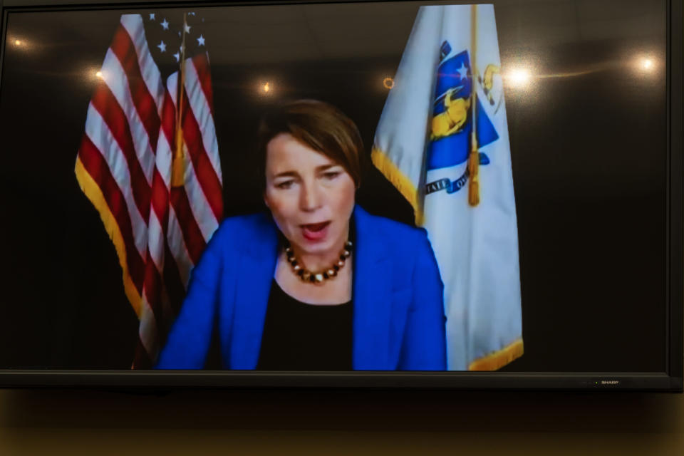 Massachusetts Attorney General Maura Healey testifies virtually, seen on a video monitor during a House Oversight Committee hearing on legislation inspired by the bankruptcy case of Purdue Pharma and the members of the wealthy Sackler family that own it, on Capitol Hill, Tuesday, June 8, 2021, in Washington. (AP Photo/Manuel Balce Ceneta)
