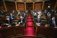 Vucic's party is poised to boost its parliamentary majority with 60 percent of the vote, and its coalition partner, the Socialist Party of Serbia, has around 12 percent support, a recent poll found