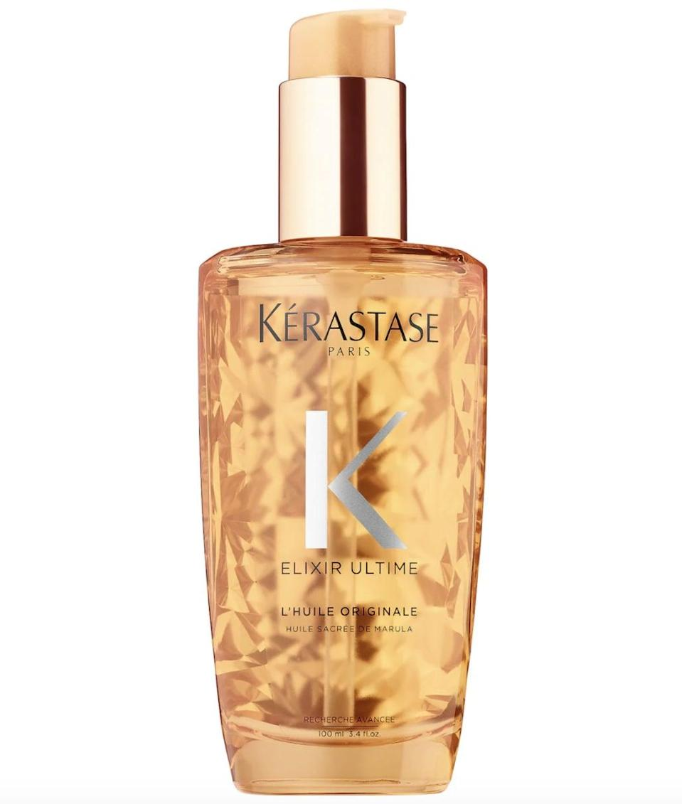 <p>The <span>Kérastase Elixir Ultime Oil Serum</span> ($51) features three star ingredients: argan oil to strengthen the hair, corn oil to soften the hair, procaxi oil to leave you with a luscious shine.</p>