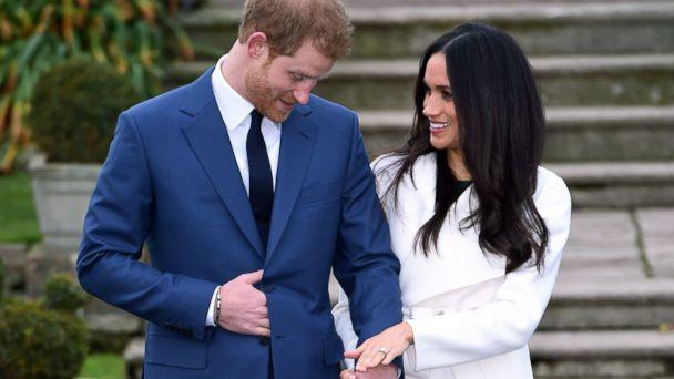 PHOTO: Britain's Prince Harry and Meghan Markle pose for the media in the grounds of Kensington Palace in London, Nov. 27, 2017. (Eddie Mulholland/Pool via AP)