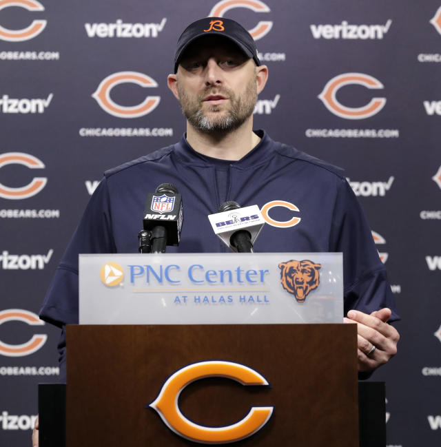 Chicago Bears head coach Matt Nagy talks to reporters after the NFL football team's voluntary veteran minicamp, Thursday, April 19, 2018, in Lake Forest, Ill. (AP Photo/Nam Y. Huh)