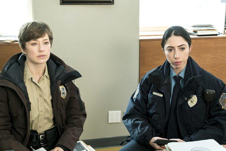 Carrie Coon as Gloria Burgle and Olivia Sandoval as Winnie Lopez in FX's Fargo.