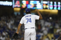 Los Angeles Dodgers relief pitcher Kenley Jansen (74) reacts after a 5-3 win over the Arizona Diamondbacks in a baseball game Wednesday, Sept. 15, 2021, in Los Angeles. (AP Photo/Ashley Landis)