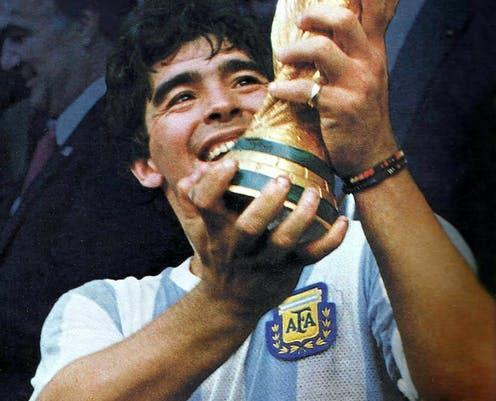 "<span class=""caption"">Diego Maradona with the World Cup, 1986.</span> <span class=""attribution""><a class=""link rapid-noclick-resp"" href=""https://en.wikipedia.org/wiki/Diego_Maradona#/media/File:Maradona-Mundial_86_con_la_copa.JPG"" rel=""nofollow noopener"" target=""_blank"" data-ylk=""slk:Wikimedia"">Wikimedia</a></span>"