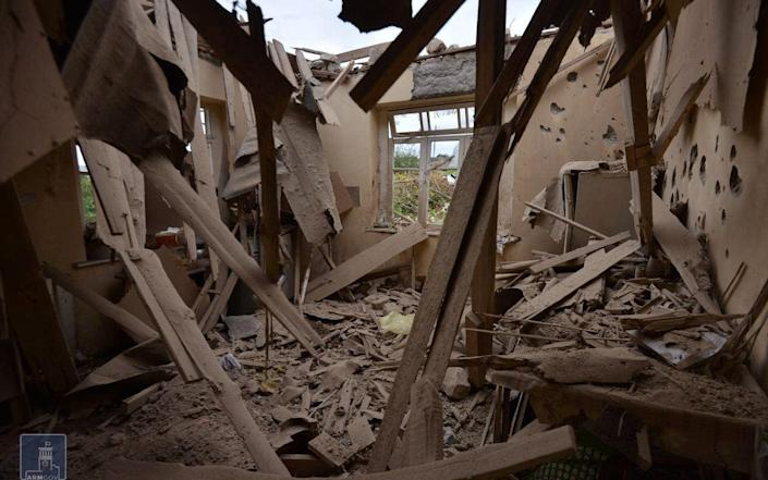 A house in Martuni, Nagorno-Karabakh, which locals said was damaged during recent shelling - Foreign Ministry of Armenia