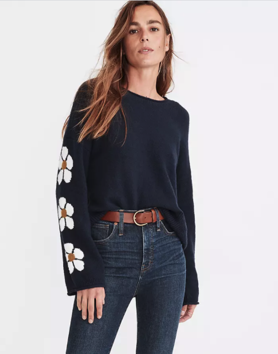 "<p><strong>Madewell</strong></p><p>madewell.com</p><p><strong>$39.97</strong></p><p><a href=""https://go.redirectingat.com?id=74968X1596630&url=https%3A%2F%2Fwww.madewell.com%2Fbelmore-floral-sleeve-pullover-sweater-in-coziest-textured-yarn-MC087.html&sref=https%3A%2F%2Fwww.marieclaire.com%2Ffashion%2Fg35279033%2Fmadewell-secret-stock-sale-january-2021%2F"" rel=""nofollow noopener"" target=""_blank"" data-ylk=""slk:Shop Now"" class=""link rapid-noclick-resp"">Shop Now</a></p>"