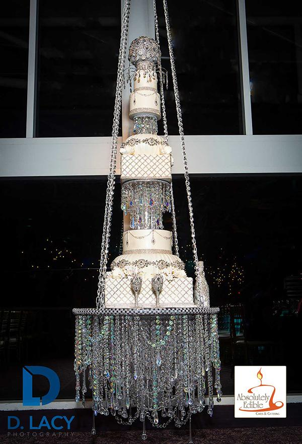 Mom baked her daughter a chandelier wedding cake that hangs from the chandelier cake mozeypictures Gallery