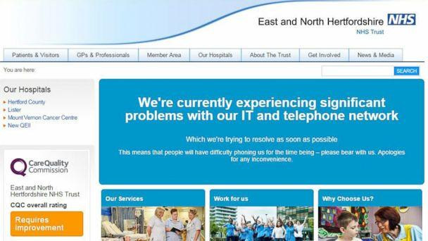PHOTO: This is screengrab taken from the website of the East and North Hertfordshire NHS trust as Britain's National Health Service is investigating 'an issue with IT,' May 12, 2017. (PA via AP)